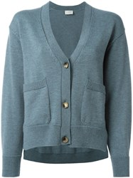 Lanvin Front Cropped Cardigan Blue
