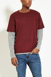 Forever 21 Layered Cotton Blend Tee Wine Heather Grey