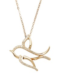 Lord And Taylor 14Kt. Rose Gold Diamond Bird Pendant Necklace