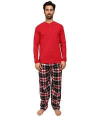 Jockey Flannel Sleep Pants With Solid Long Sleeve Jersey Henley Top Boxed Set Red Men's Pajama Sets