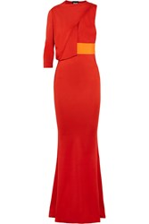 Just Cavalli One Shoulder Cutout Satin Maxi Dress Red