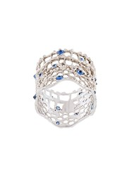 Aurelie Bidermann 'Vintage Lace' Sapphire Ring Metallic
