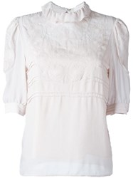 See By Chloe Floral Embroidered Blouse Pink Purple