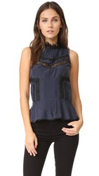 Derek Lam Sleeveless Peplum Blouse Midnight