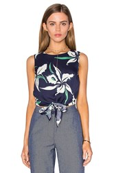 Lucy Paris Tie Front Crop Top Navy