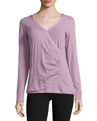 Marc Ny Performance Ruched Hooded Long Sleeve Tee Heather Cherry Blossom
