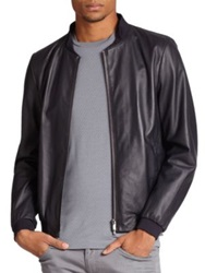 Armani Collezioni Leather Motorcycle Jacket Dark Navy