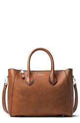 Michael Kors 'Large Helena' Leather Satchel Brown Luggage