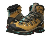 Salomon Quest 4D 2 Gtx Shrew Camel Gold Leather Teal Blue F Women's Hiking Boots Brown