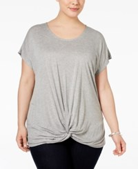 Inc International Concepts Plus Size Twist Front T Shirt Only At Macy's Light Grey