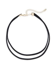 Design Lab Lord And Taylor Double Leather Choker Necklace Gold