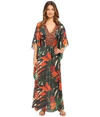 Agua De Coco By Liana Thomaz Long Kaftan Folhagem Girafa Women's Swimwear Multi