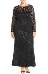Plus Size Women's Marina Illusion Yoke And Long Sleeve Lace Gown Black