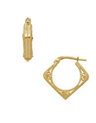 Lord And Taylor Gold Rush 14K Yellow Gold Diamond Shaped Hoop Earrings