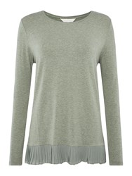Gray And Willow Pina Pleat Sequin Hem Top Sage