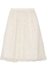 Alice Olivia Aubreanna Faux Pearl Embellished Tulle Skirt Off White