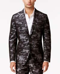 Inc International Concepts Men's Slim Fit Pixelated Camouflage Suit Jacket Only At Macy's Grey