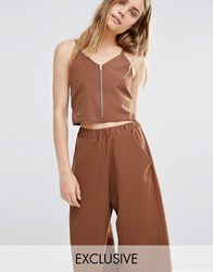 House Of Sunny Zip Front Crop Top Co Ord Chocolate Brown