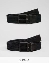 Selected Jack Woven With Leather Trim Belts Black
