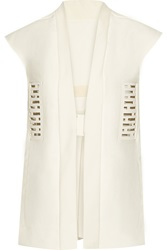 Rick Owens Leather Paneled Cotton Canvas Vest White