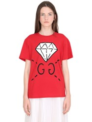Gucci Diamond Print Cotton Jersey T Shirt