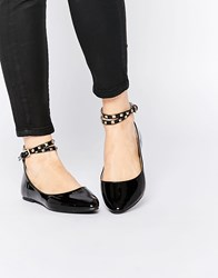 Daisy Street Black Studded Ankle Strap Ballet Flat Shoes Black