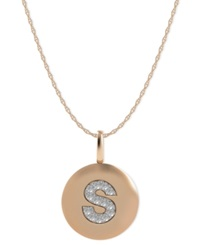 Macy's 14K Rose Gold Necklace Diamond Accent Letter S Disk Pendant