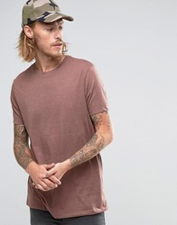Asos Longline T Shirt With Crew Neck In Light Red Marl Marron Marl