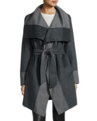 Diane Von Furstenberg Mackenzie Wool Blend Colorblock Wrap Coat Charcoal G
