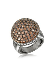 Azhar Sterling Silver Cubic Zirconia Semi Sphere Cocktail Ring Brown