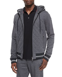 Moncler Diamond Quilted Zip Hoodie Gray