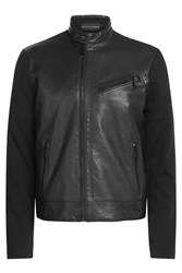 Ralph Lauren Black Label Leather Jacket With Contrast Sleeves Black
