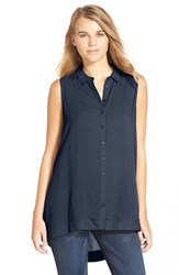 Junior Women's Lush Button Front Sleeveless Tunic Blue