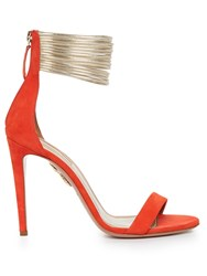 Aquazzura Spin Me Around Suede Sandals Red