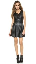 Madison Marcus Faux Leather Groove Cutout Dress Jet Black