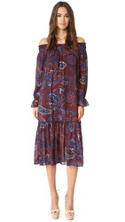 Re Named Paisley Off Shoulder Dress Mahogany