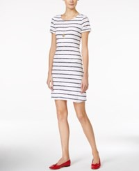 Maison Jules Striped Lace T Shirt Dress Only At Macy's Bright White Combo