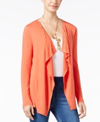 Thalia Sodi Grommet Trim Open Front Draped Cardigan Only At Macy's Paprika