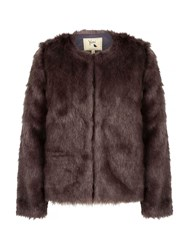 Yumi Fluffy Faux Fur Jacket Grey