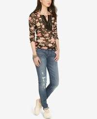 Denim And Supply Ralph Lauren Floral Print Crochet Henley Black