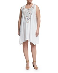 Jwla By Johnny Was Plus Embroidered Handkerchief Hem Tank Dress White Multi