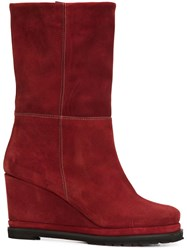 Chuckies New York Wedge Mid Calf Boots Red
