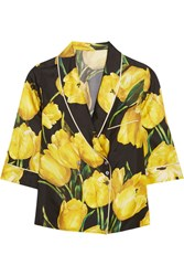 Dolce And Gabbana Printed Silk Twill Shirt Yellow