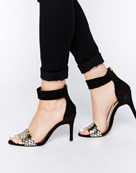 Supertrash Regina Leather Barely There Heeled Sandals Blackgold