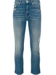 Mother Mid Rise Cropped Jeans Blue