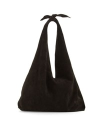 The Row Bindle Knot Suede Hobo Bag Black
