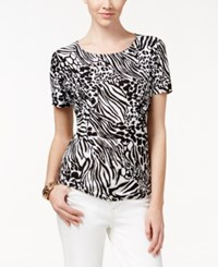 Jm Collection Textured Tee Animal Print Black White