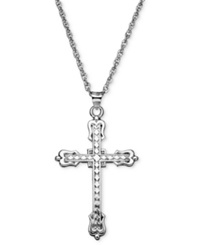 Macy's Sterling Silver Necklace 20' Polished Cross Rope Chain Pendant