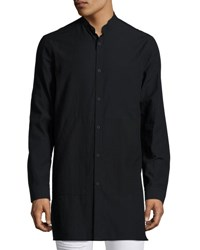 Helmut Lang Mandarin Collar Long Line Shirt Black