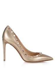 Valentino Rockstud Point Toe Pumps Metallic